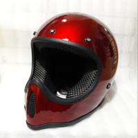 Helm Cakil Replika Moto4 Trail Full Face Cross Merah
