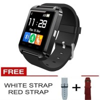 Smartwatch U Watch U8 - Black Smart Watch Gratis Strap Black & White