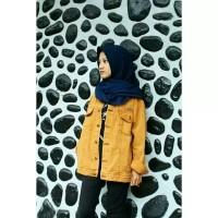 jaket wanita cokelat emas premium import gold mustard unisex hijabers