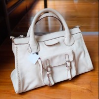 tas branded bag leather merk Chloe asli original warna cream