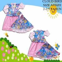 Baju Muslim Anak Perempuan Gamis Tutu Cloud Bird Flower Pink Muda