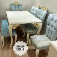 kursi meja makan jati jepara mewah mebel minimalis furniture