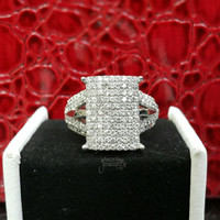 Terbaru Sist Cincin Emas Putih Full Berlian Eropa