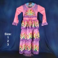 (SMB021) Baju Muslim Anak Gamis Anak Frozen Fever Remple 2 Size 1, 2,