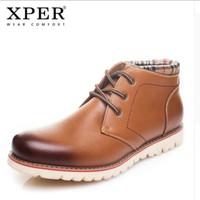 ORIGINAL XPER Boots Cow Leather Plush Winter sepatu pria kulit import