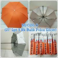 Payung Lipat 3 Orange Polos dalam Silver
