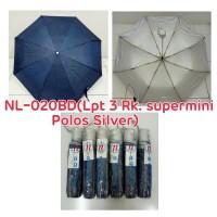 Payung Lipat 3 Biru Tua dalam Silver