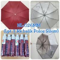 Payung Lipat 3 Merah Maroon dalam Silver