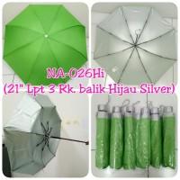 Payung Lipat 3 Hijau Polos dalam Silver