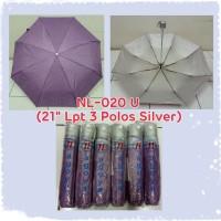 Payung Lipat 3 Ungu Polos dalam Silver