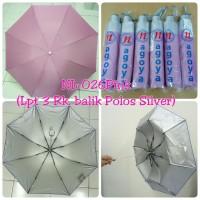 Payung Lipat 3 Pink Polos dalam Silver