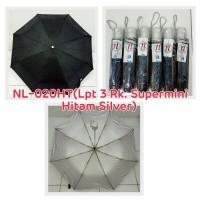 Payung Lipat 3 Hitam Polos dalam Silver