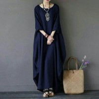 BAJU WANITA DRESS TERBARU GU- Long Rihana Navy Maxi Dress Polos Casual
