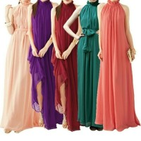 BAJU WANITA DRESS TERBARU Long Dress Tanpa Lengan Model Halter Neck