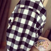 KEMEJA TERBARU KEMEJA Kemeja Hitam Putih Kotak Style Korea Baju