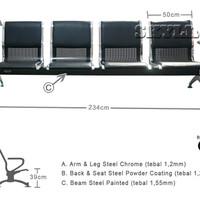 Kursi Tunggu Bandara 4 dudukan + Busa Size Large - Khusus Surabaya