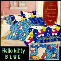 OBRAL MURAH BEDCOVER SET NATASHA 180 X 200 X 20 KING -HELLO KITTY BLUE