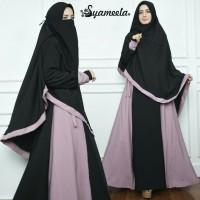 GROSIR set gamis syari black gamis polos syar i hijab niqob abaya FRE