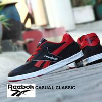 Jual Sepatu Sneakers Reebok Casual Classic Hitam Merah Kets Santai Pria Murah