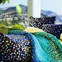 gorden korden selimut) Bed cover set Polka deep blue 180x200