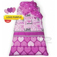 gorden korden selimut) Sprei My love Love Purple 120x200