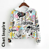 Hoodie crop Sweater Chat inspire