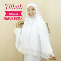 Jilbab Ihram Ihrom Putih Polos Rayon Besar Jilbab Instan Perlengkapan