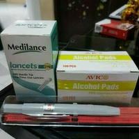 Paket pen plastik SM lancet medilance gan alkohol