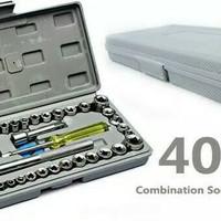 Tool Kit 40 in 1 Kunci Sock Shock Sok Pas Obeng Alat bengkel Set