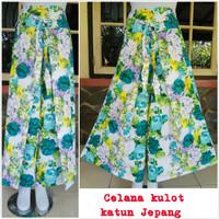 Celana kulot panjang dewasa motif bunga katun jepang
