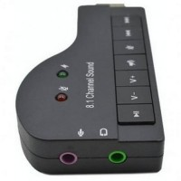 Sound Card USB Model Piano 8.1 Channel 3D Audio - Black