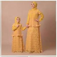 setelan muslim couple ibu anak brukat gamis abaya kaftan maxi kuning