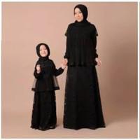 setelan muslim couple ibu anak brukat gamis abaya kaftan maxi hitam