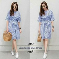 [Zara stripe blue dress RO] dress wanita stripe salur biru