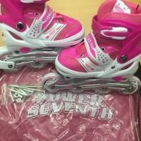 Promo Sepatu Roda Power Seventh Warna Pink Jahit Roda Karet Free Baut