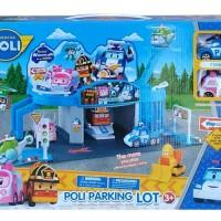 Mainan Anak - Robocar Poli Parking Lot Play Set Amber Heli Roy Mobil