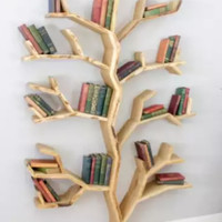 Rak Buku Tempel Dinding Bentuk Pohon Bahan Full Kayu Pinus Kuat Murah