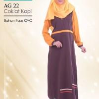 BARU Baju Gamis Terbaru Alnita AG 22 Coklat ORIGINAL