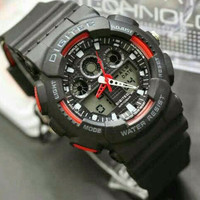 Jam Tangan Pria Digitec DG - 2011 Dualtime Original Black Red