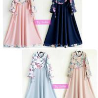 lidya maxi dress remaja hijabers/maxi warna pastel/baju gamis lebaran