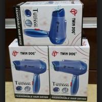 Stylish Fashion Hair Dryer Pengering Rambut Twin Dog Biru 350W TDL99