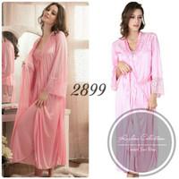 Baju Tidur Long Dress Satin dan Kimono 2899