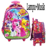 Tas Trolley Anak TK LAMPU Dan MUSIC My Little Pony 5D Timbul Import