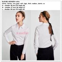Baju Atasan Kemeja Putih Polos Wanita Blouse Import AB746524 White
