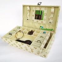 terbaru Kotak Perhiasan Koper Motif LV CREM Jewelry Box Accesories Bo