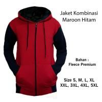 Jaket Kombinasi Maroon Hitam - Fleece Size S M L XL XXL XXXL XXXXL 5XL