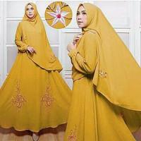 Busana Muslim Lebaran Wanita Baju Hari Raya Gamis Syari Gold