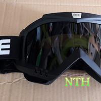 Goggle Helm Cross.Kaca Mata helm Cross Bingkai hitam doft kaca hitam