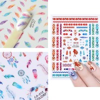 Nail Sticker 3D Letter Feather Designs Stiker Kuku