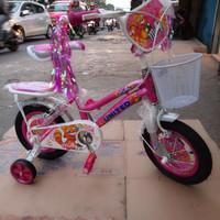 Sepeda anak 12 mini united molly keranjang boncengan sadel bisa distel
